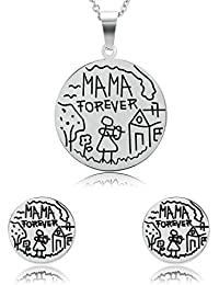 """Daesar Joyería Conjunto Collar y Pendientes de Mujer Redondo Diseño Humorístico """"Mama forever"""" Grabado Acero Inoxidable Colgantes y Atres Juego de Joyas"""