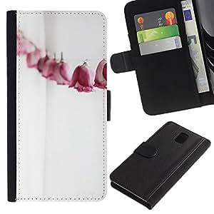 WINCASE Immagine Pelle Raccoglitore Carta Custodia Cover Guscio Case Protezione Per Samsung Galaxy Note 3 III - Linea carta rose metafora significato profondo