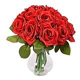 Famibay Rosso Rose Artificiali 18 Teste Seta Mazzi di Rose Finti San Valentino Set di 2 per Decorazioni Bomboniere