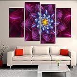 mubgo Leinwandbilder 4 Panel Moderne Gedruckt Abstrakte Blumenmalerei Bild Bild Leinwand Kunst Blume Wand Modulare Bilder Für Wohnzimmer Rahmen,40X80X2 40X100X2