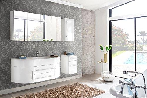 #SAM® 4tlg. Design Badmöbel-Set 140 cm weiß, Softclose-Funktion, 1 Waschplatz mit Mineralgussbecken, 1 Spiegelschrank, 1 Hängeschrank und 1 Unterschrank [521287]#
