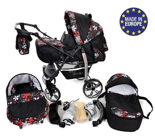 Sportive X2-3 in 1 Reisesystem einschließlich Kinderwagen mit schwenkbaren Rädern, Kinderautositz, Buggy und Zubehör (3 in 1 Reisesystem, Schwarz und kleine Blumen)