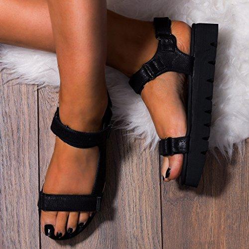 SPYLOVEBUY KERSHA Femmes Tongs Plates Sandales Noir - Similicuir