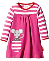 Toby Tiger Girl's Striped Round Collar Long Sleeve Dress