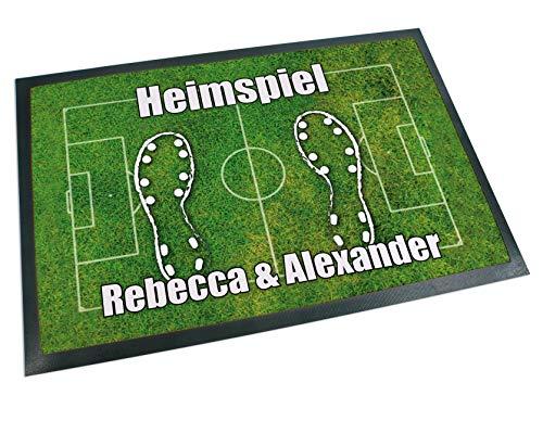 Werbetreff Gera Fußmatte Fußball Name oder Wunschtext (60 x 40 cm) Fußballfeld, Fußballfan, Sportverein, WM ...