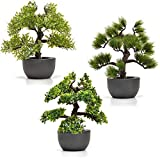 Künstlicher Bonsai Baum im Set Kunstpflanzen im Topf Kunstblumen Fensterdeko künstliche Pflanze