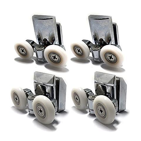 Zinc Alloy Shower Door Twin Rollers Runners - Set of 4 - Top & Bottom