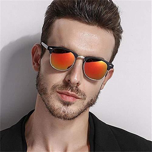 Cranky Orange Herren Sonnenbrille Retro Rivet Shades Markendesigner Sonnenbrille für Herren Classic Herren Spiegel Night Vision Driving Sunglasse, Schwarz Rot