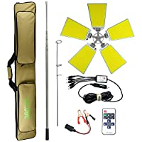 Conpex Outdoor Telescopic Camping Rod Floodlight 120W 12000LM, New Technologic COB Lamp with Fishing Rod Perfect for Camping, Party, Street Stall, Any Outdoor Activities(Five Lamp Panels)