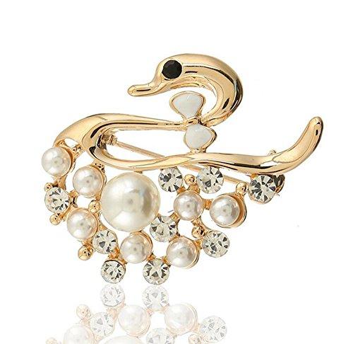 Nikgic Frau Brosche Mode Elegant Business Perle Kleine Schwan Form Brosche Tägliche Edelstein Damen Geschenk