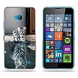 Fubaoda Nokia Lumia 640 Hülle,[Katze Wird Tiger] Anti-Dropping PC Handy-Tasche Back-Cover Ultra Slim Weich Silikon Transparent Designs Schutzhülle für Nokia Lumia 640