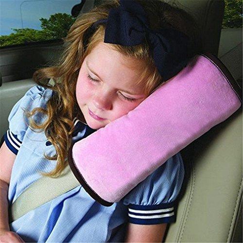 CAOLATOR Coche Almohada Hombreras de Coche Cinturón de Seguridad de Almohada Proteger Hombro Suministros de Viajes de Larga Distancia Para Niños Dormir-Rosa