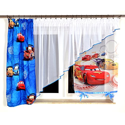 GMC-2 DISNEY Kindergardine für Jungen / Kinder mit Motiv CARS für Kinderzimmer / Jungenzimmer blau