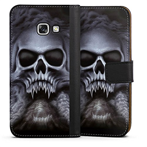 mpatibel mit Samsung Galaxy A3 2017 Leder Flip Case Ledertasche Totenkopf Schädel Skull ()