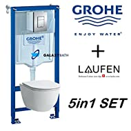 Grohe WC Rahmen + laufen Pro Randlos Wandhängendes WC Pfanne mit Soft Close Sitz Slim
