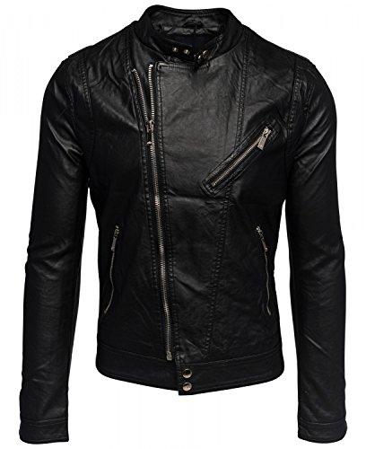Herren leichte Biker Kunstlederjacke KNIGHT Nr.1533, Farben:Schwarz;Größe Jacken:L