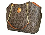 MICHAEL Michael Kors Women's Jet Set Travel Large Chain Shoulder Tote Printed Handbag (Brown/Acorn)