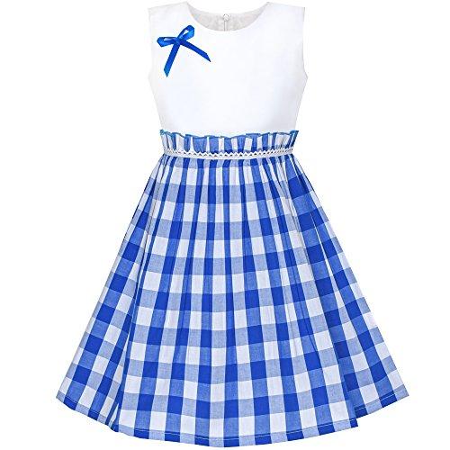 Sunboree Mädchen Kleid Blau Schottenkaro Plaid Zurück Schule Gr. 128-134
