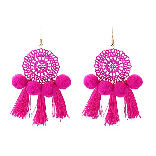 Thumby Bohemian Country Jolly Su Girl Pendientes Dew Ball Ball Girl Pendientes Jewelry Red