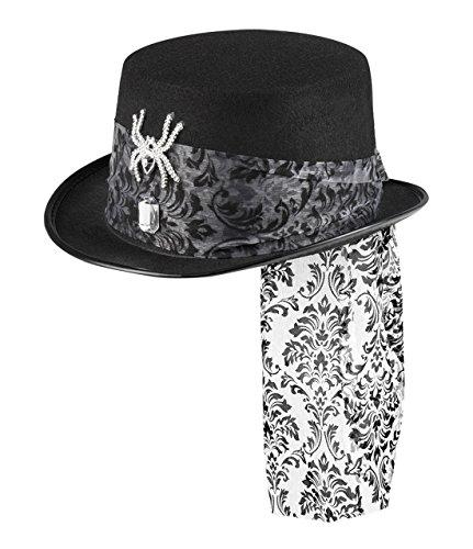 erdbeerclown - Halloween Kostüm Glitzer Spinnen Hut mit Tüll Verzierung Erwachsenen Kopfbedeckung, Schwarz (Flamme Hut Kostüm)