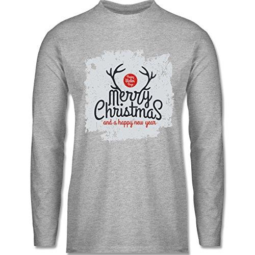 Weihnachten & Silvester - Merry Christmas Happy new year Grunge Hirschgeweih - Longsleeve / langärmeliges T-Shirt für Herren Grau Meliert