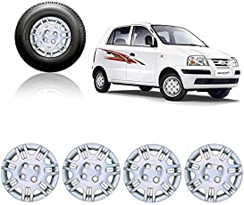 Autorepute Premium Quality Car Full Caps Silver 13Inches Wheel Cover For - Hyundai Santro Xing