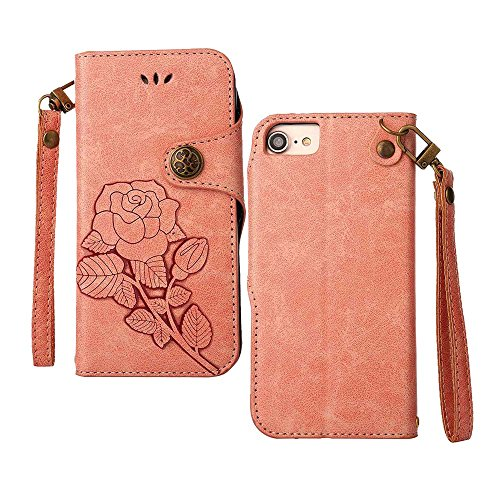 Custodia iPhone 7 ,Custodia iPhone 8, COOSTOREEU Retro Embossed Roses Magnetic Slotted Wallet Case+ Cinghia di Polso Smontabile Progettazione per Apple iPhone 7 (2016) / iPhone 8 (2017), Rosa Rosa