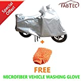 #5: FABTEC Silver Bike Cover with FREE Cleaning Duster For Activa 4G