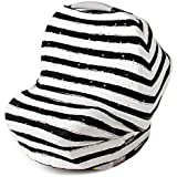 Stretchy Multi Use Carseat Canopy | Nursing Cover | Shopping Cart &High Chair Cover | Scarf - Dots &Stripes | Best Baby Shower Gift For Boys &Girls | Fits Infant Car Seat | For Breastfeeding Moms