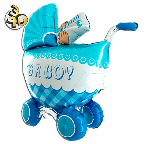 (Riesiger 3D Folienballon Kinderwagen Buggy It's A Boy 107cm Blau XXL - Baby Party Geburt Taufe Junge Babyshower Ballon Luftballon Riesenballon)