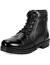 K KING Men's Black Genuine Leather Safety Boot Shoes with Steel Toe
