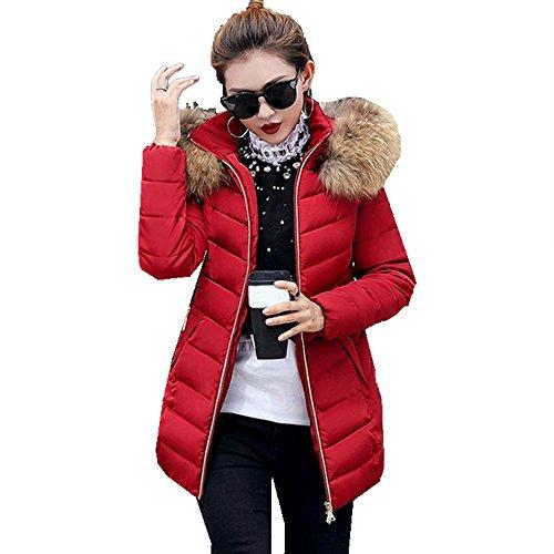 Cashmere-leder-rucksack (Ansenesna Mode Damen Winter Warm Verdickt Langen Daunenjacke Freizeit Mantel Parka (Wein rot, XXXL))