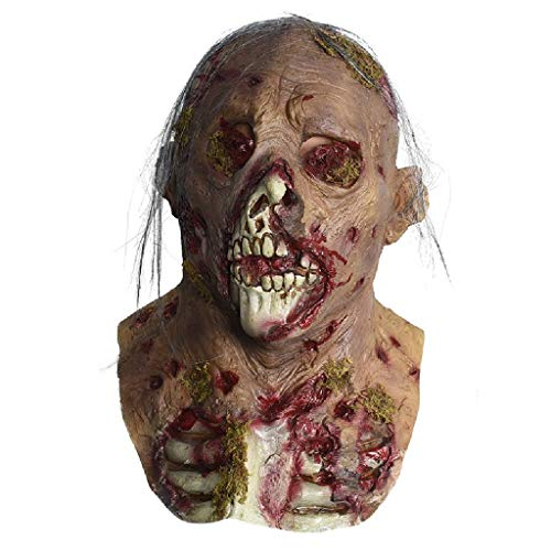Sexy Party Monster Kostüm - Pkfinrd Walking Dead Vollkopf Maske, Resident Evil Monster Maske, Zombie Kostüm Party Latex Maske for HalloweenDecaying Zombie , mit Maske for Halloween Party