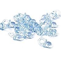 Lot de 50pcs Mini Sucettes Décoration pour Baptême Douche de Bébé (Bleu)
