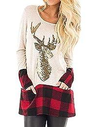 JiaMeng Damen weihnachtskostüm Weihnachten Tops Plaid Splice Saum Rentier Langarm Cute Tunika Bluse Sweatshirt Pullover Top