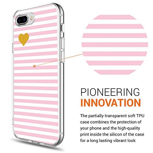 iPhone 8 Plus Hülle, iPhone 7 Plus Hülle, Eouine Ultra Slim Soft TPU Muster Schutzhülle Silikon Stoßfest Bumper Case Cover für Apple iPhone 7 Plus (2016) / iPhone 8 Plus (2017) 5.5-inch Smartphone (Bu Streifen Rosa
