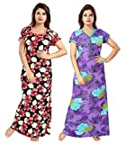 Be You Serena Satin Navy-Purple Women Nightgowns Combo Pack of 2