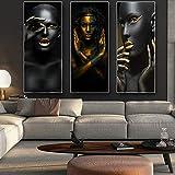 LIVEXH Home,3 Pieces tendu Parties Toile Impression Moderne HD Posters sur intissee Murale Image Artistique Photo Graphique Accueil Decoration/Femme Africaine/sans Cadre
