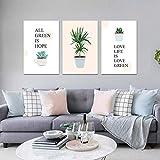 Meyardecor Leinwanddruck Cartoon Malerei Pflanze Topfpflanzen Aloe Poster Und Drucke Wandbild Für Wohnzimmer Wandkunst Dekoration 50x70 cm Ungerahmt
