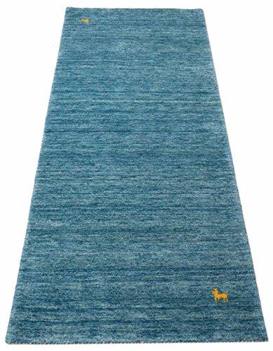 Parwis gabbeh loom, tappeto in pura lana vergine, lana, blu, 80 x 300 cm