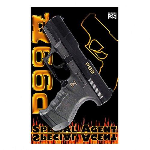 Special Agent P99 25-Schuss Pistole, Karte Pistole Knarre Colt Waffe Fasching -