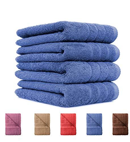 4er Pack Handtücher Set 50x100 cm 100% Baumwolle Qualität 600 g/m² in 6 modernen Farben Aubergine - Moderne Handtuch-set
