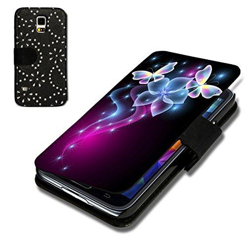 Book Style Strass Glitzer Flip Handy Tasche Case Schutz Hülle Schale Motiv Foto Etui für Samsung Galaxy S3 Neo - Strass F6 Design10