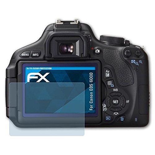 atFoliX Displayschutzfolie für Canon EOS 600D/Rebel T3i Schutzfolie - 3 x FX-Clear kristallklare - Eos Rebel T3i Canon Digital