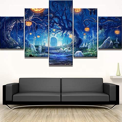 RMRM 5 Stück HD Print große Halloween Kürbis Baum Cuadros Decoracion Gemälde auf Leinwand Wandkunst für Inneneinrichtungen Wanddekoration Holzrahmen 40x60cm 40x80cm 40x100cm (Decoracion De Halloween)