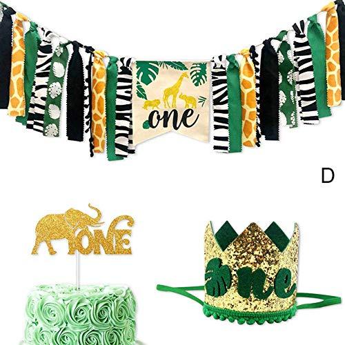 SuneWay Dekoration Krone, Dschungel Tiere Themen Hochstuhl Banner Dekoration Krone Party Zubehör Fürs Baby 1. Geburtstag Neu - D 1 Set