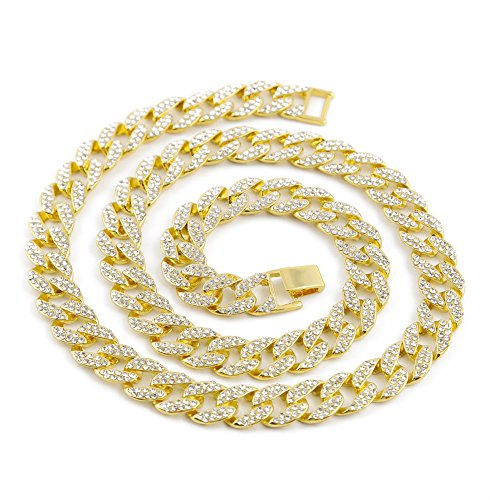 Mypace Anhänger Gold Silber 925 Für Damen Crystal Gold Finish Miami Cuban Link Chain Men Hip hop Necklace Jewelry (Link Kugel Chain)