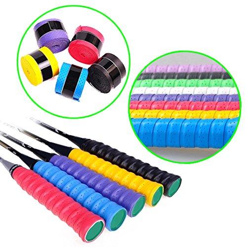 Ein Satz von 5 Stück - Perforiertes Super Absorptionsmittel Grip Anti-Rutsch Tape Band für Badminton Tennis Squash Schläger Tennis, Badminton, Squash, Griffband, Tape - 5 Farben Overgrip