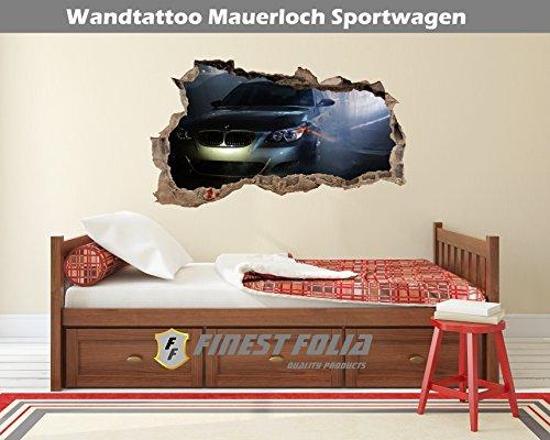 Preisvergleich Produktbild Wandtattoo Mauerloch Auto Wandfolie Aufkleber Wohnzimmer Schlafzimmer (WL22 BMW M5 E60)