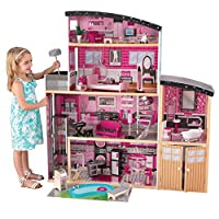 KidKraft 65826 Sparkle Mansion Wooden Dolls House with Furniture and Accessories Included, 3 Storey Play Set for 30 cm/12 Inch Dolls